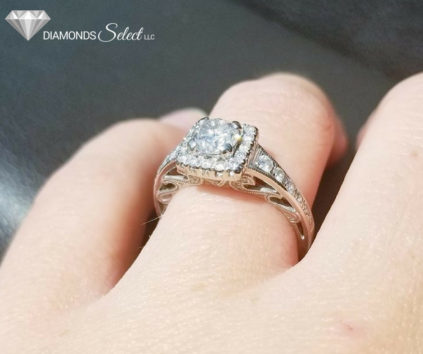 Custom Halo Engagement Ring by Diamonds Select